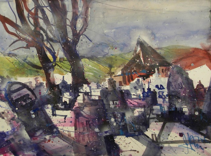 Friedhof, Oppenheim, Watercolor 56776 cm, Andreas Mattern.2015