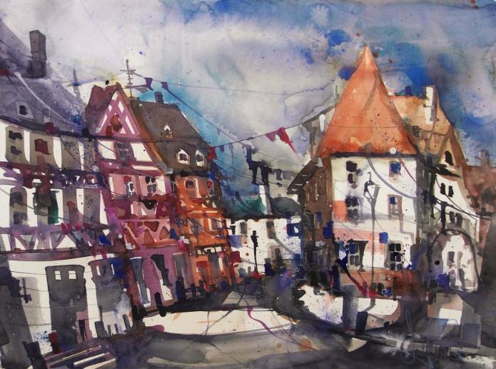 Colmar, Rue de Bles, Watercolor 56/76 cm, Andreas Mattern, 2015