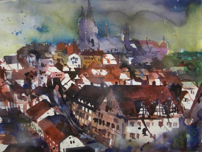 Dachlandschaft, Meissen, Watercolor 56/76 cm, Andreas Mattern, 2015