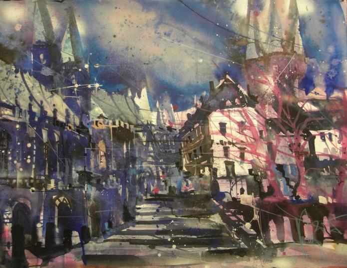 Erfurt, Dom, Watercolor 56/76 cm, Andreas Mattern,2015