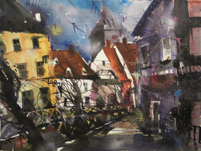 Freiburg, Gerberviertel, Watercolor 56/76 cm, Andreas Mattern,2015