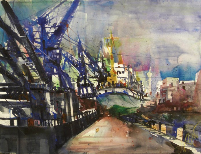 Hamburg, Museumshafen, Watercolor 56/76 cm, Andreas Mattern,2015