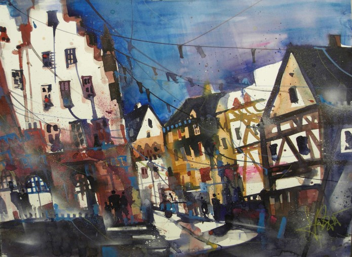 Oppenheim,Markt, Watercolor 56/76 cm, Andreas Mattern,2105