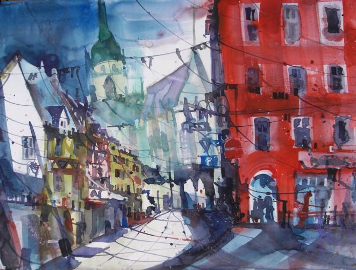 Colmar (Frankreich), Watercolor 56/76 cm, Andreas Mattern, 2015