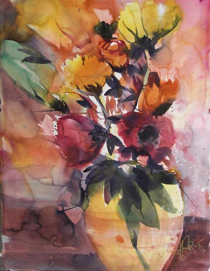 Blumen in Gelb, Watercolor 76/56, Andreas Mattern, 2015