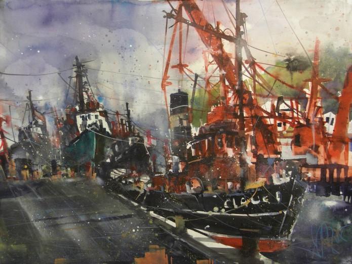 Hamburg, Övelgönne mit Claus, Watercolor 56/76 cm, Andreas Mattern, 2015