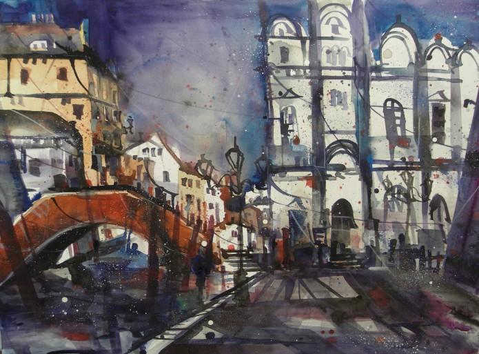 Venedig Hospitale, Watercolor 56/76 cm, Andreas Mattern, 2015