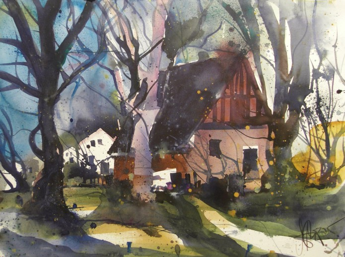 In Mecklenburg, Watercolor 56/76 cm, Andreas Mattern,2015