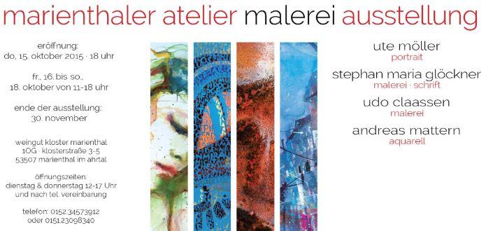 Einladung zur Ausstellung im Marienthaler Atelier für Malerei, Oktober 2015