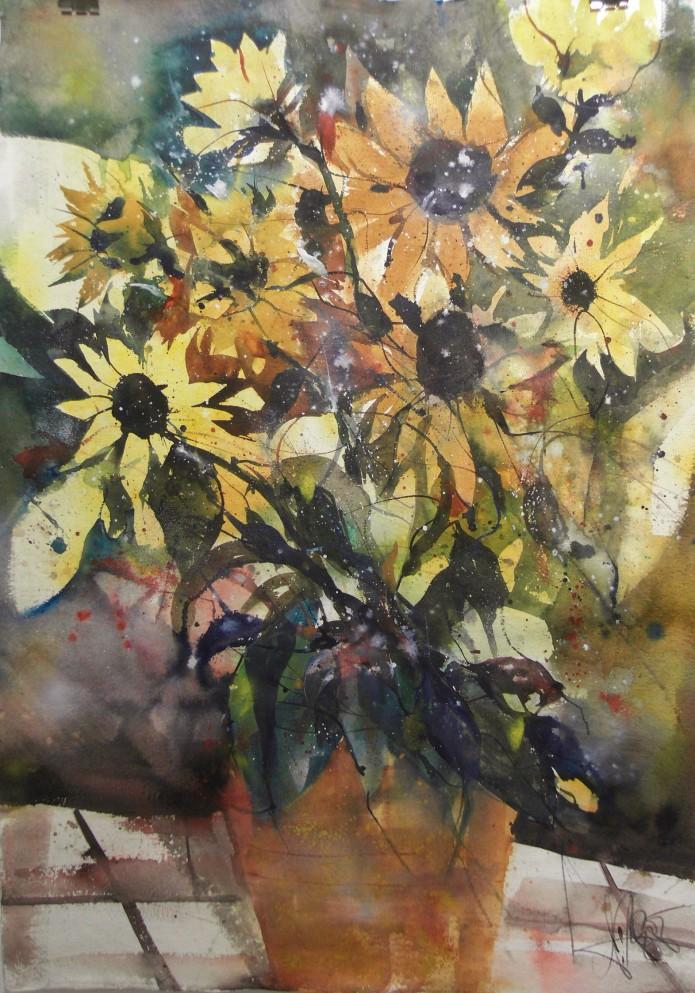 Sonnenblumen, Watercolor 132/93 cm, Andreas Mattern,2015