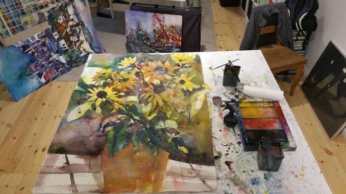 Work in Progress,Sonnenblumen,Watercolor 132/93 cm, Andreas Mattern,2015