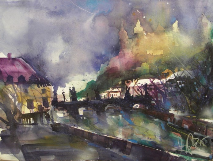 Würzburg , Festung, Watercolor 56/76 cm , Andreas Mattern, 2015