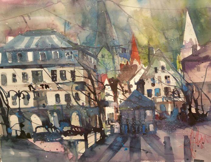 Kamen, Marktplatz, Watercolor 56/76 cm, Andreas Mattern, 2015