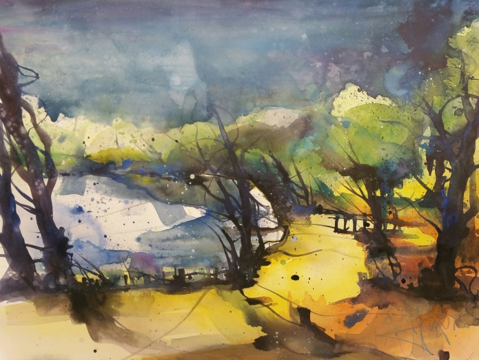 Landschaft (Pinnow), Watercolor 56/76 cm, Andreas Mattern,2015