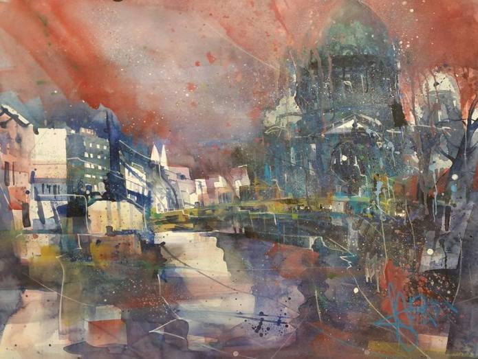 Berliner Dom (Novemberbild), Watercolor 56/76 cm, Andreas Mattern,2015
