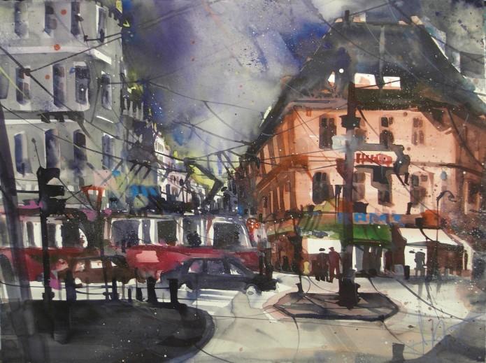 Wien, Höhenstraße, Watercolor 56/76 cm, Andreas Mattern, 2015