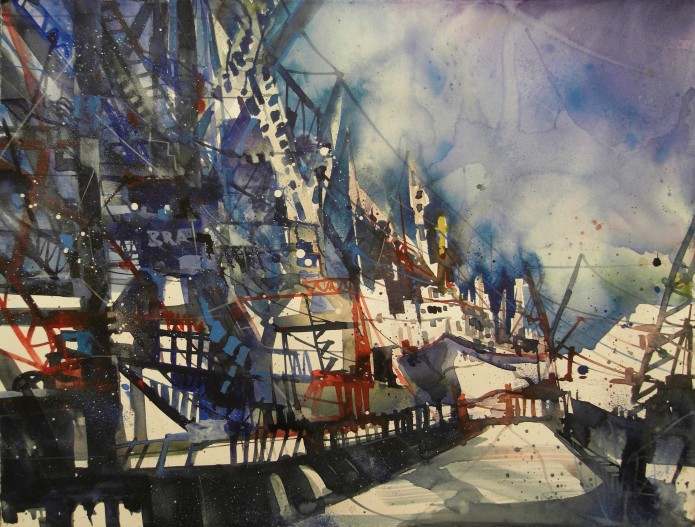 Museumshafen Hamburg, Watercolor 56/76 cm, Andreas Mattern, 2015