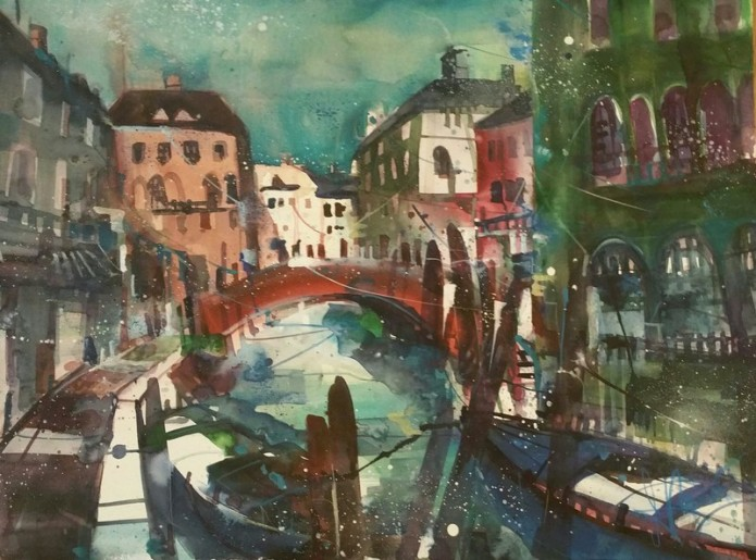 Venedig (D), Watercolor 56/76 cm, Andreas Mattern, 2015