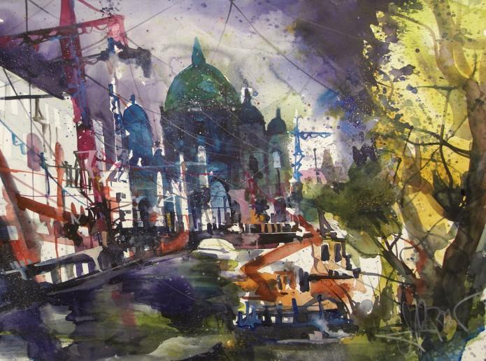 Berlin, Dom, Spree, Baustelle Stadschloss, Watercolor 56/76 cm, Andreas Mattern,2016