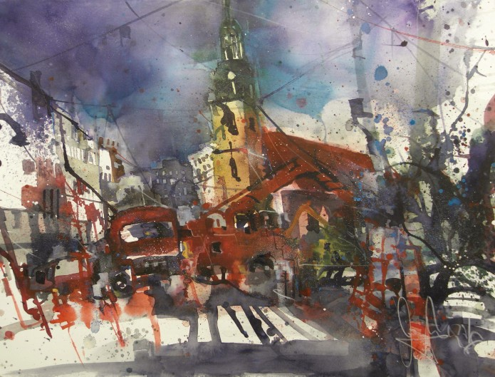 Karl-Liebknecht-Str. Berlin, Watercolor 56/76 cm, Andreas Mattern, 2016