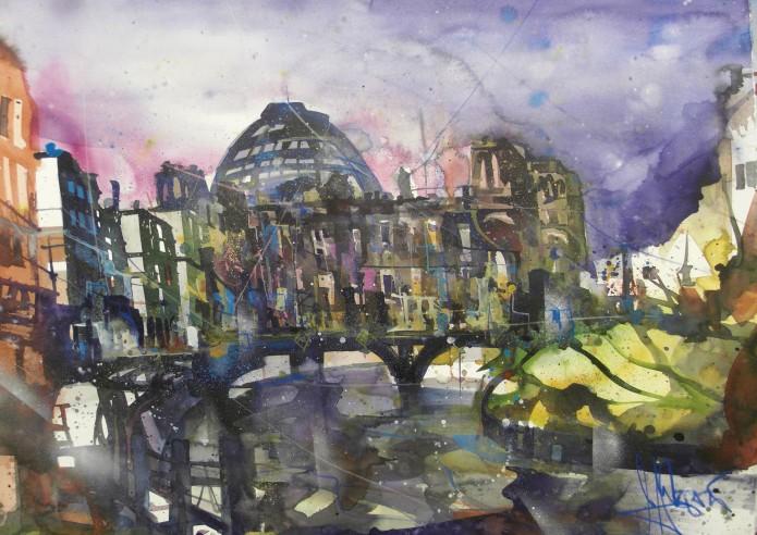 Reichstag, Berlin, Watercolor 56/76 cm, Andreas Mattern, 2016