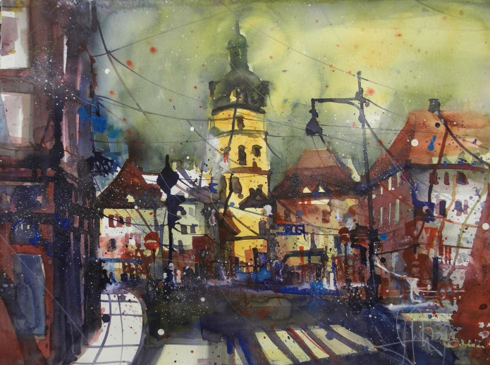 Ansbach, Watercolor 56/76 cm, Andreas Mattern,2016