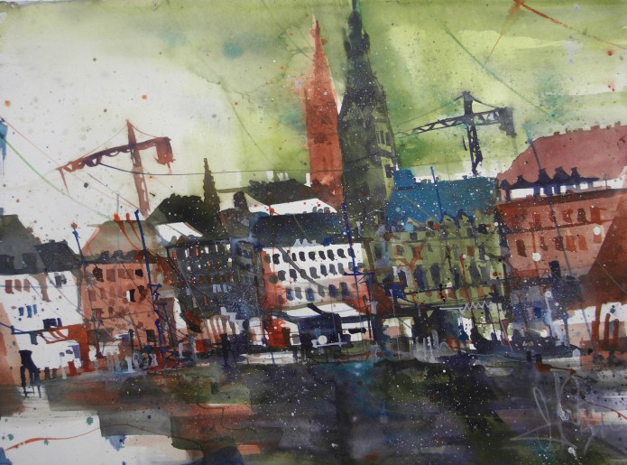 Hamburg (Binnenalster), Watercolor 56/76 cm, Andreas Mattern,2016