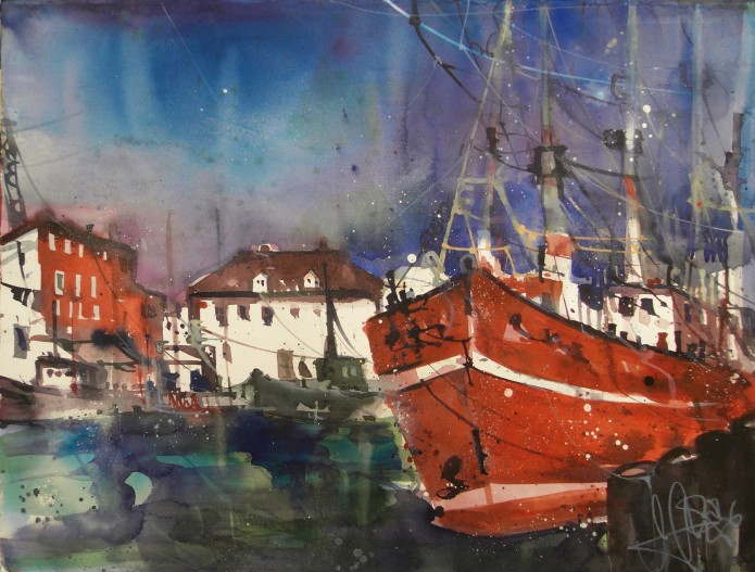Hafen Warnemünde, Watercolor 56/76 cm, Andreas Mattern,2016