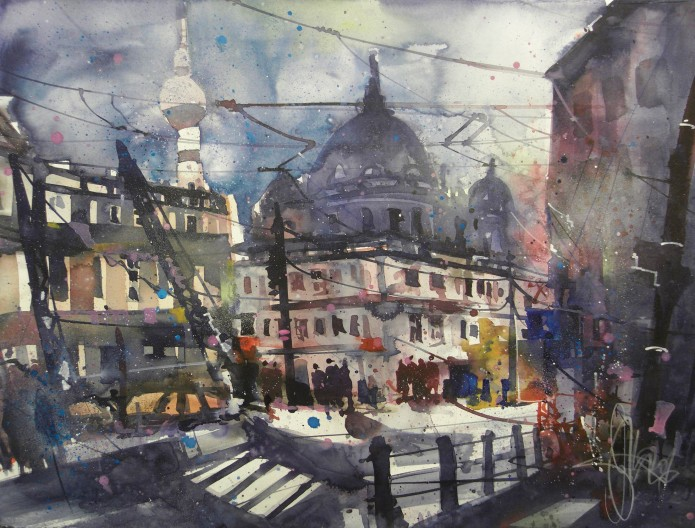 Berlin, Am Kupfergraben, Watercolor 56/76 cm, Andreas Mattern,2016
