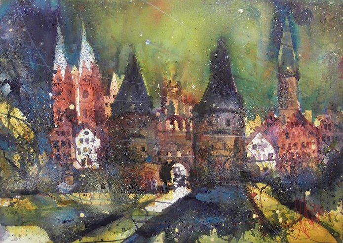 Lübeck, Watercolor 56/76 cm, Andreas Mattern,2016