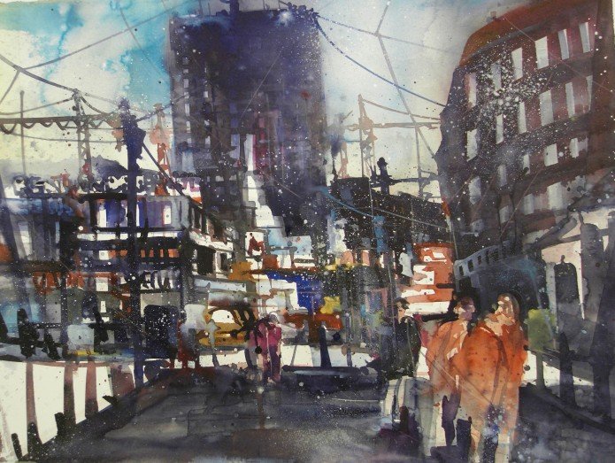 Berlin, Breitscheidplatz, Watercolor 56/76 cm, Andreas Mattern,2016