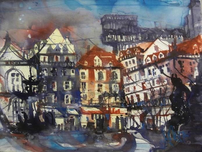 Lissabon, Elevador, Watercolor, 56/76 cm, Andreas Mattern,2016