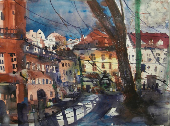 Lissabon (r.q) , Watercolor 56/76 cm, Andreas Mattern,2016