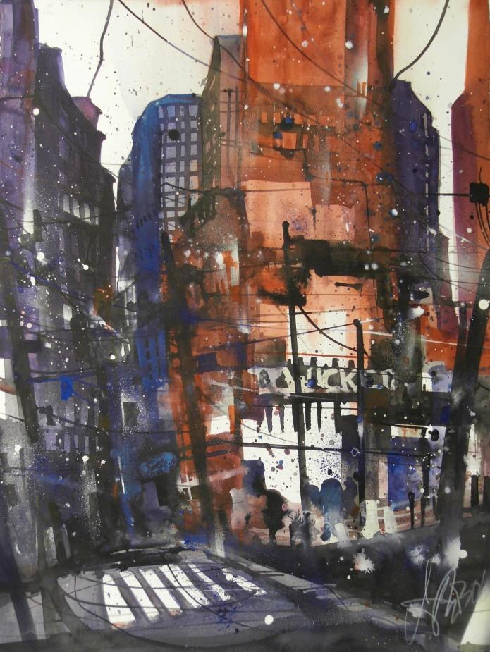 NY, Watercolor 76/56 cm, Andreas Mattern,2016